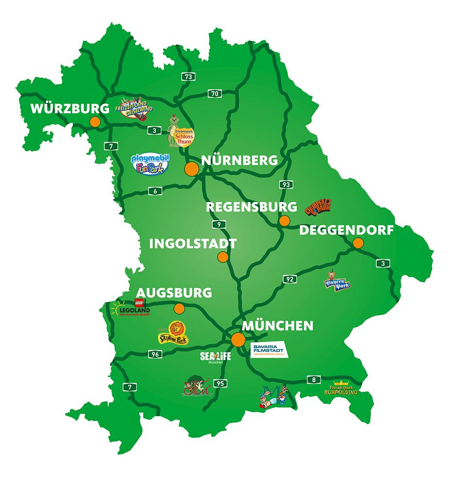 Karte Bayern.Freizeitparks In Bayern Ein Vergnügen Für Die Ganze Familie